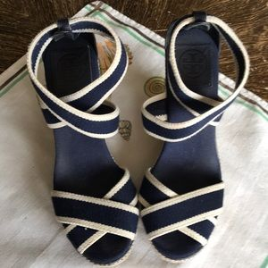 Tory Burch Linley Espadrille Wedge - Navy/White